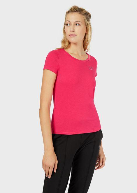 Jersey T-shirt with small rhinestone logo