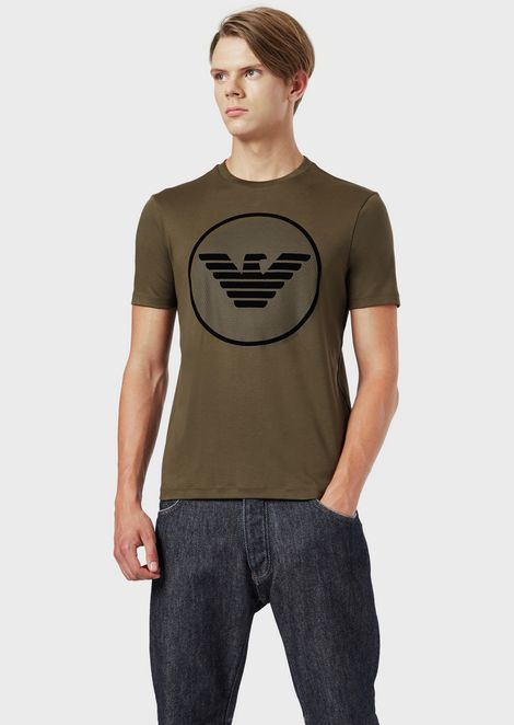 Interlock jersey T-shirt with eagle logo