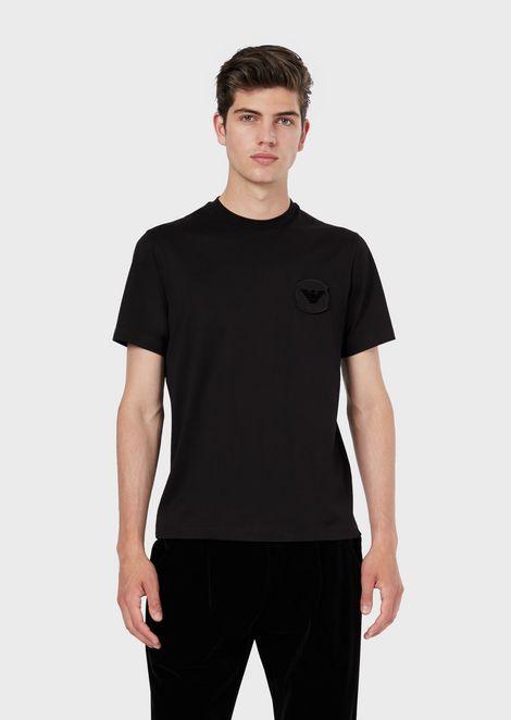 T-Shirt aus merzerisiertem Jersey mit Logo-Patch