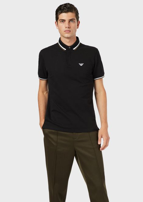 Stretch piqué polo shirt with contrasting trim