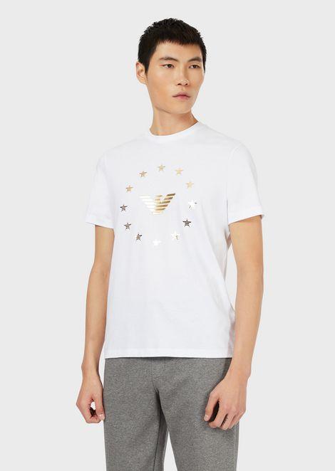 Camiseta de punto con logotipo de águila y estrellas