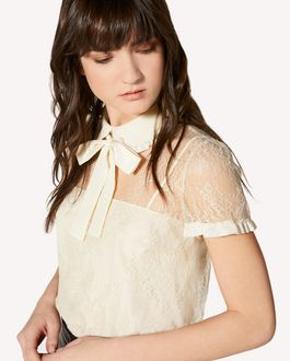 REDValentino Dentelle fleurs lace top with rounded collar and bow