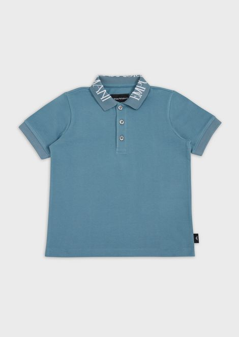 Piqué polo shirt with logo collar