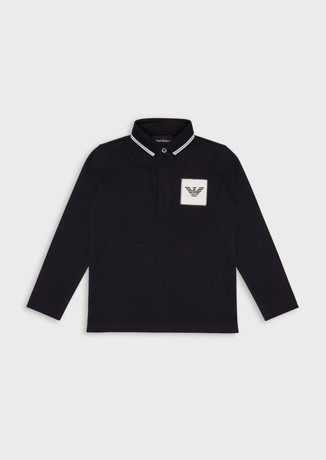 Long-sleeved polo shirt with logo patch
