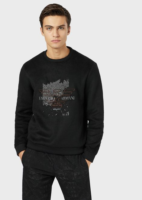 Wooly-look sweatshirt with lurex embroidery