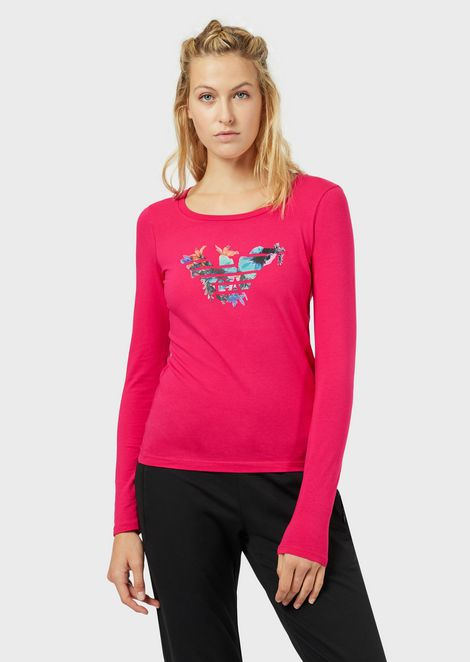 Long-sleeved T-shirt with logo print and flowers