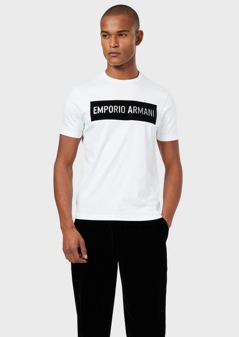 Camiseta de punto interlock con parche con logotipo