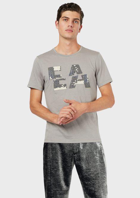 Camiseta de punto ligero con logotipo de estampados y bordados