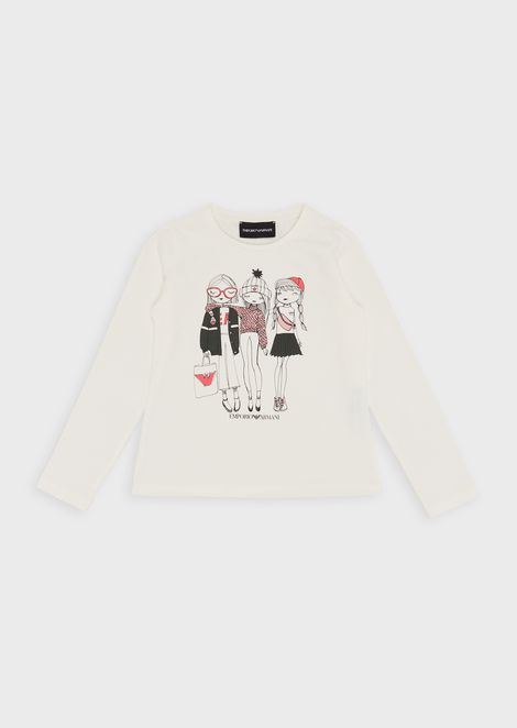 Girls-print jersey sweater