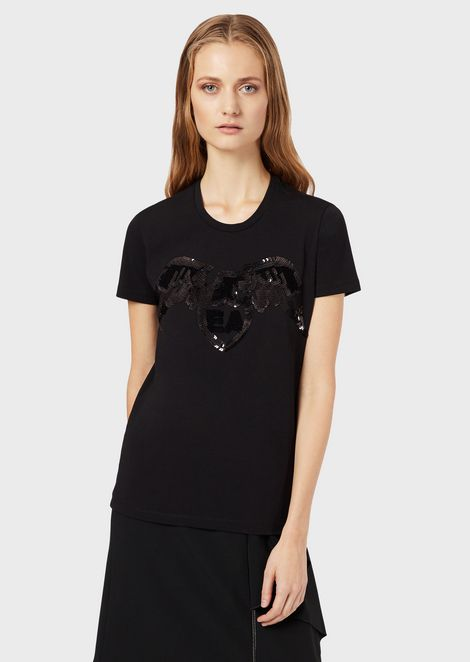 Stretch jersey T-shirt with eagle and sequins