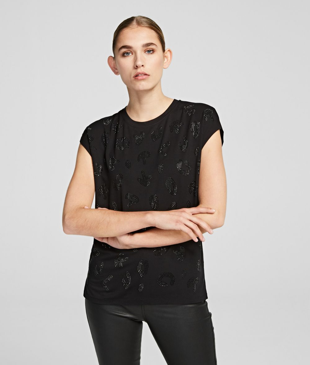 KARL LAGERFELD Sparkly Logo T-shirt T-shirt Woman f