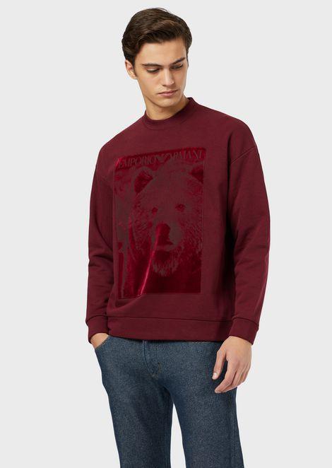 Printed velvet crew-neck sweatshirt