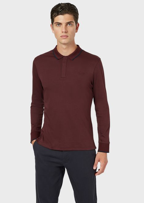 Interlock jersey polo shirt with contrasting trim