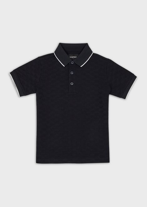 Polo shirt with all-over jacquard logo