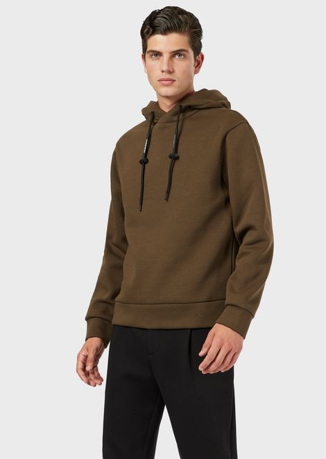 Hooded sweatshirt with logoed drawstring