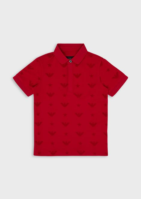 Piqué polo shirt with all-over monogram