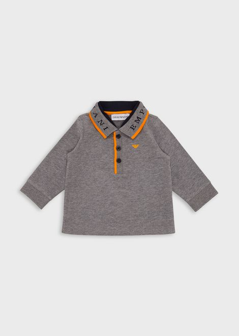 Long-sleeved polo shirt with logo collar