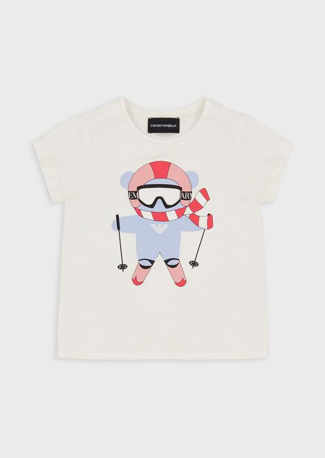 Jersey T-shirt with polar animals print