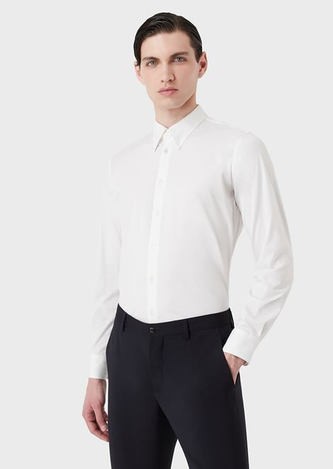 Slim-fit, cotton jersey shirt