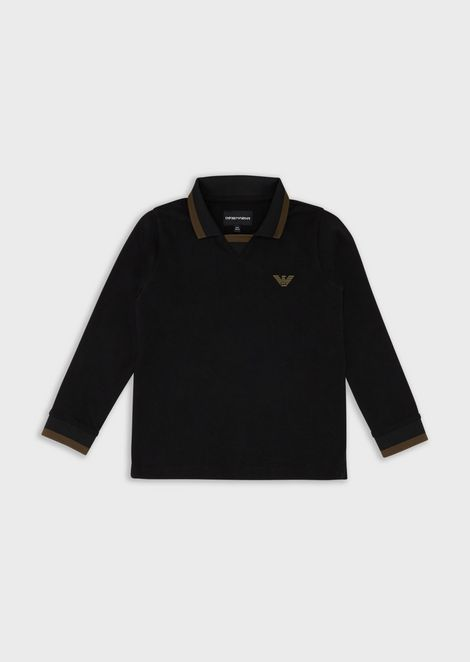 Long-sleeves polo shirt with eagle patch