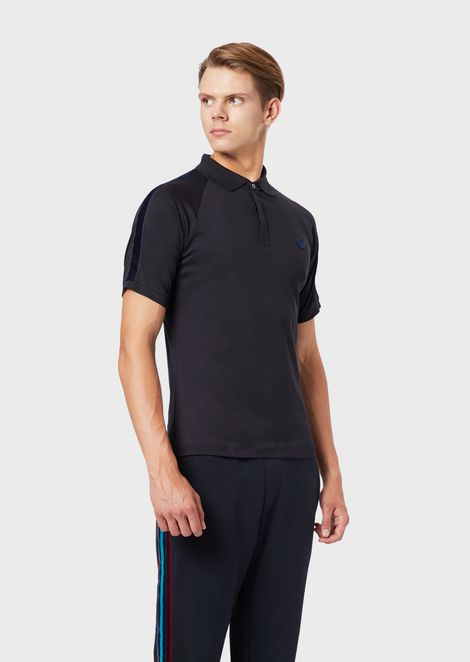 Interlock jersey polo shirt with eagle patch