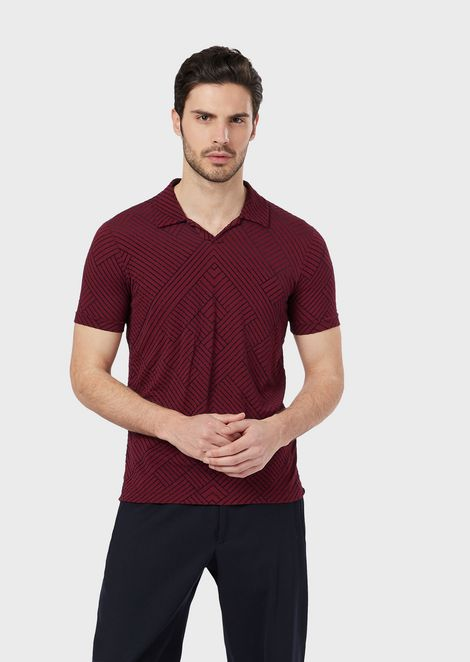 Stretch viscose polo shirt with flocked design