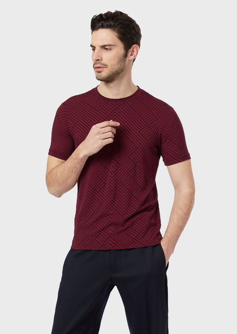 Stretch viscose T-shirt with flocked design