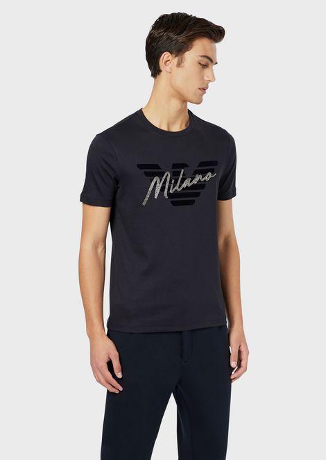 Interlock jersey T-shirt with logo and rhinestone city