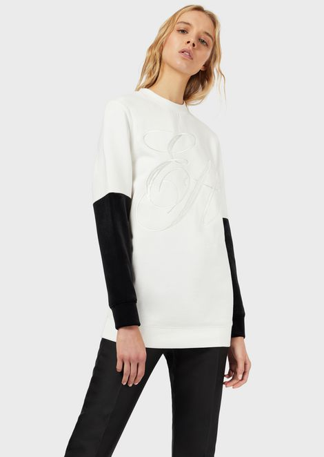 Sweatshirt with embroidered logo and contrasting-coloured sleeves