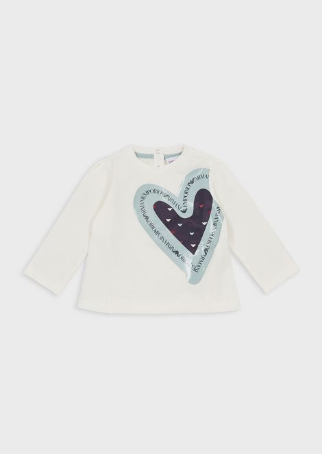 Jersey sweater with maxi-print heart