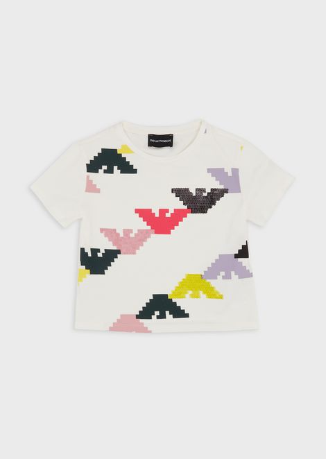 Jersey T-shirt with pixel logo