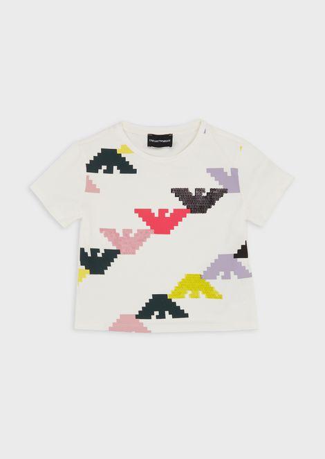 Camiseta de punto con logotipo pixelado