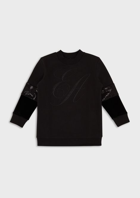Sweatshirt with embroidered maxi-logo and sequin details