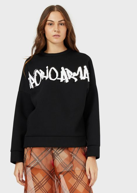 Oversized sweatshirt with graffiti-style logo covered in sequins
