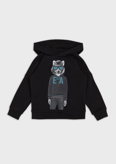 Hooded sweatshirt with wolf print