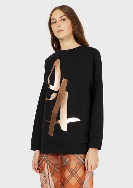 Oversized sweatshirt with metallic logo
