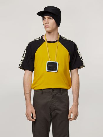 Marni T-shirt in cotton with poplin Eyed Leaves print on back Man f