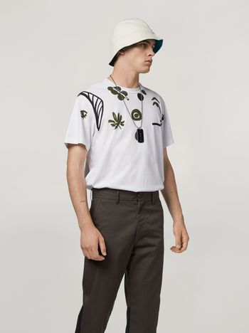 Marni T-shirt in cotton jersey with placed print Man f
