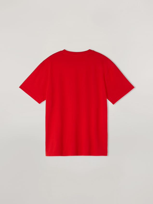 Marni Red t-shirt in light cotton jersey with front logo Man