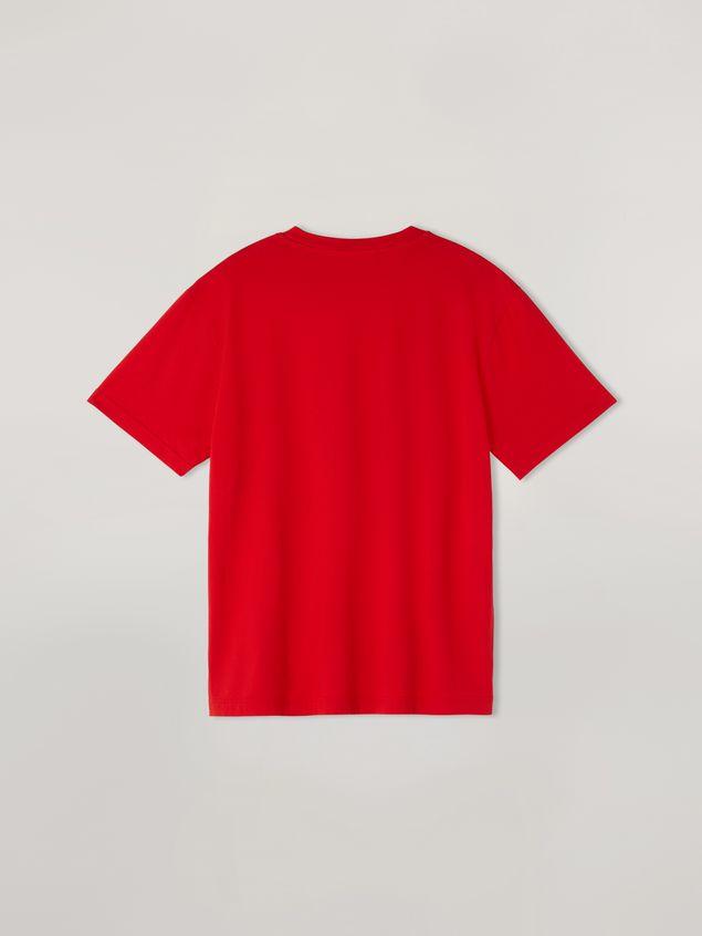 Marni Rotes T-Shirt aus Baumwolljersey mit Logo an der Vorderseite Herren