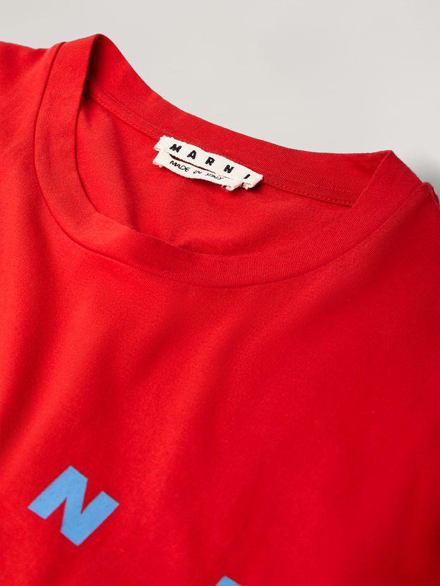 Marni Rotes T-Shirt aus Baumwolljersey mit Logo an der Vorderseite Herren - 4