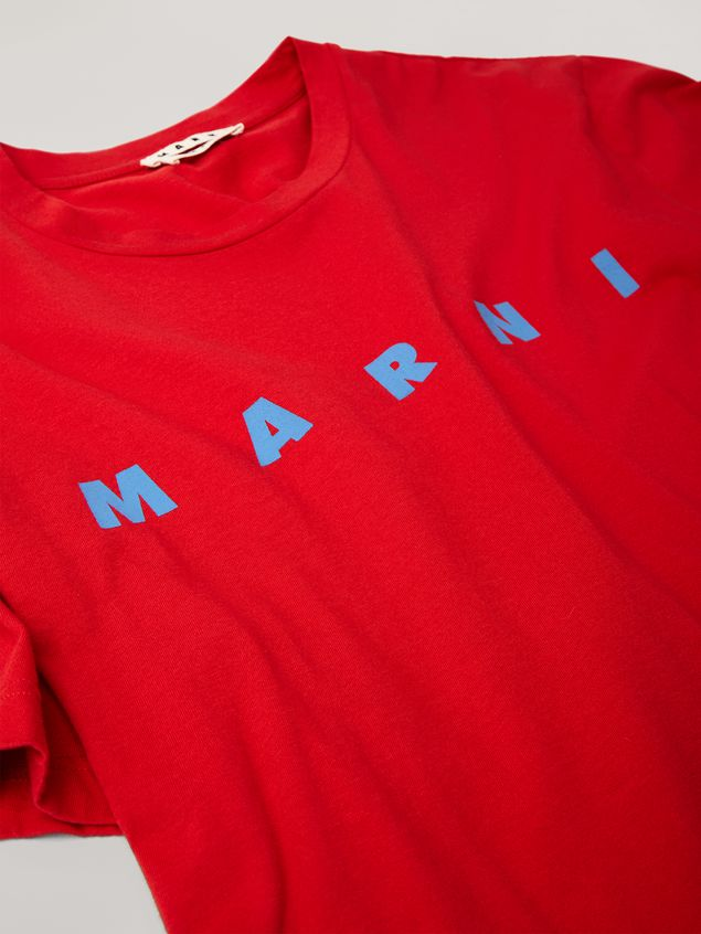 Marni Red t-shirt in light cotton jersey with front logo Man - 2