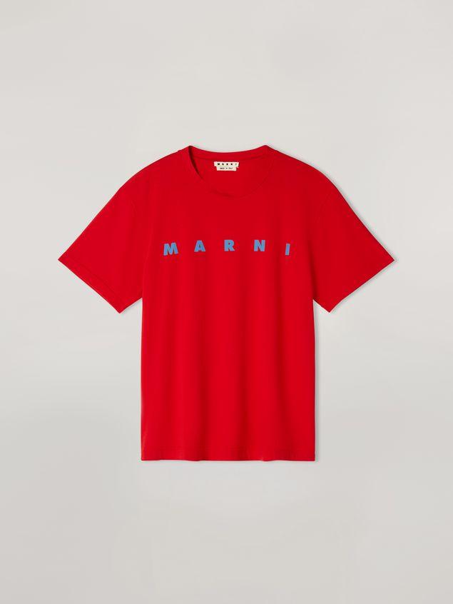 Marni Rotes T-Shirt aus Baumwolljersey mit Logo an der Vorderseite Herren - 1