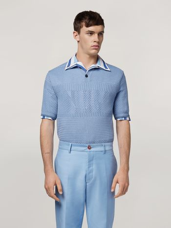 Marni  Knitted polo shirt in openwork virgin wool Man f