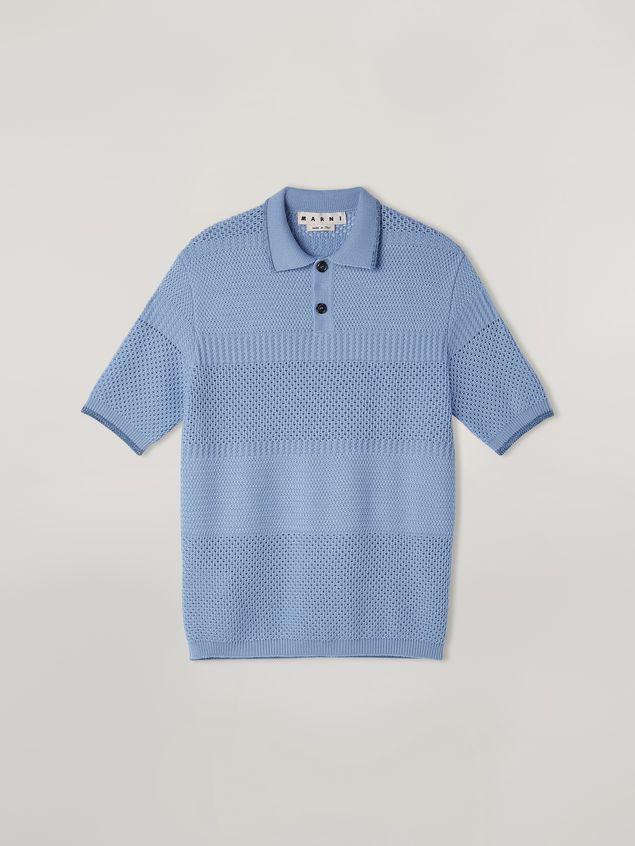 Marni  Knitted polo shirt in openwork virgin wool Man - 2