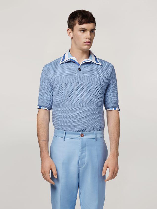 Marni  Knitted polo shirt in openwork virgin wool Man - 1