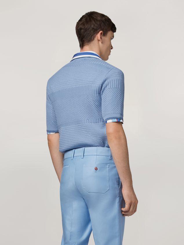 Marni  Knitted polo shirt in openwork virgin wool Man - 3