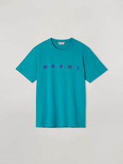 Marni T-shirt in jersey di cotone con logo frontale turchese Uomo