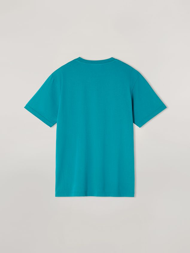 Marni Turquoise t-shirt in cotton jersey with front logo Man - 3