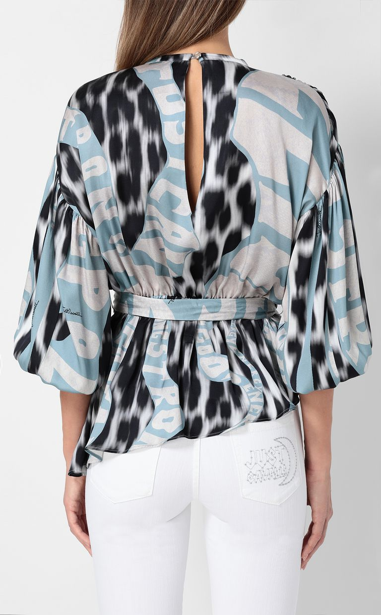 "JUST CAVALLI Top with ""Just Flow"" print Top Woman a"
